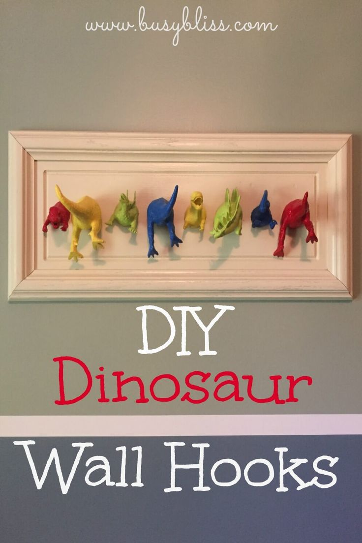 Turn inexpensive plastic toys into fun dinosaur wall hooks with a pop of color for a dinosaur themed boys bedroom.