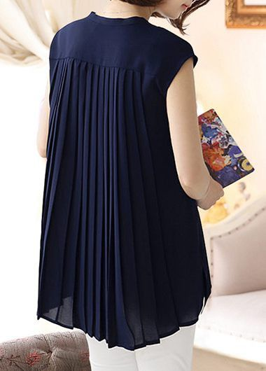 Cap Sleeve Pleated Back Navy Blue Blouse on sale only US$31.58 now, buy cheap Cap Sleeve Pleated Back Navy Blue Blouse at liligal.com