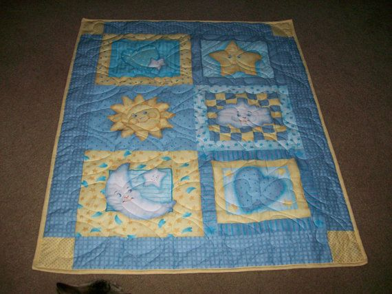 Sun Moon And Stars Baby Quilt In Blue And Yellow Blue