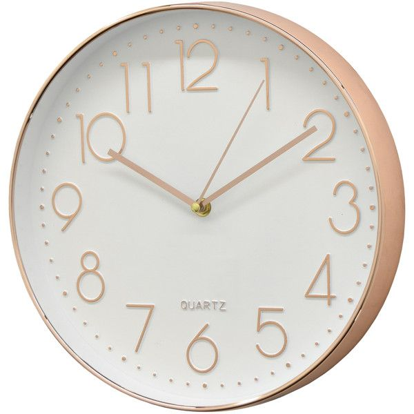 Three Hands Corp White & Rose Gold-Tone Wall Clock (€11) ❤ liked on Polyvore featuring home, home decor, clocks, gold, white clock, round wall clock, white home accessories, white home decor and white wall clock