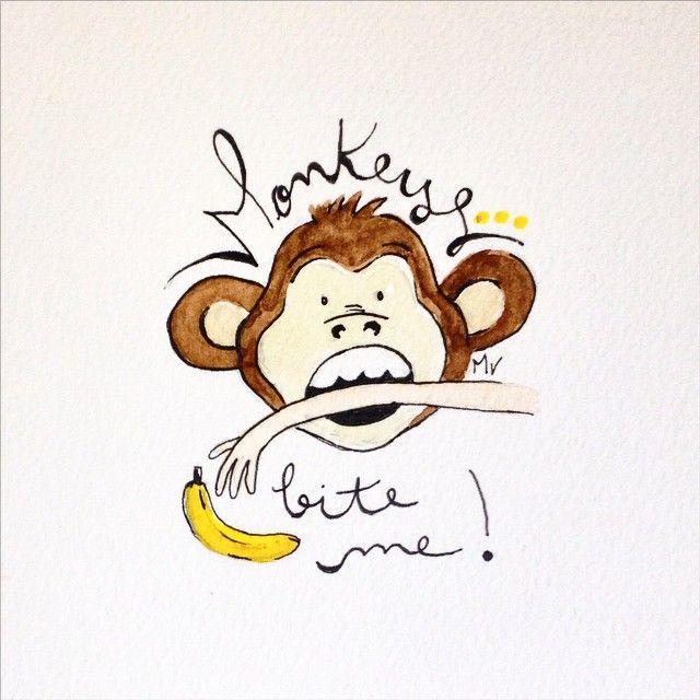 """Monkeys bite me!!!"" I can't believe that happened!  Meaning: ""pinch me!""   Translated idioms illustrations by @portuglese ;) ---------------------------------  ""Macacos me mordam!!!"" Não acredito que isso aconteceu!  Ditados traduzidos por @portuglese"