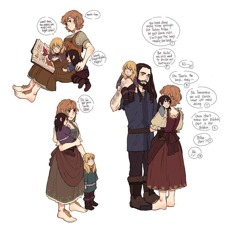 Female Bilbo and Thorin with baby Fili and Kili -- Driven Out and Taken In Fanart - Chapter 1 - Shivi - The Hobbit - All Media Types, The Hobbit - J. R. R. Tolkien, The Hobbit (2012) [Archive of Our Own]