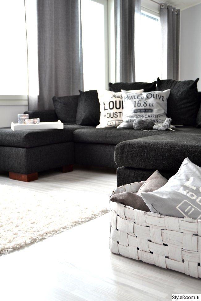 sohva,olohuone,kori,koristetyynyt,harmaa,mustavalkoinen,skandinaavinen