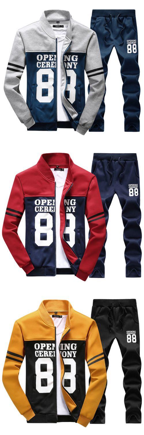 Men's Print Casual / Work / Formal / Sport / Plus Sizes Set,Cotton / Polyester Long Sleeve Set