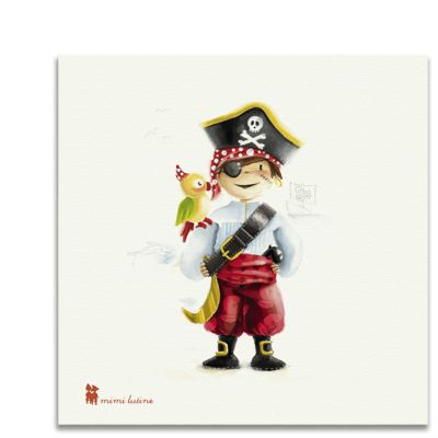 Original cuadro de un alegre pitara acompañado de su inseparable loro para decorar la habitación de los niños. Incluye colgador.