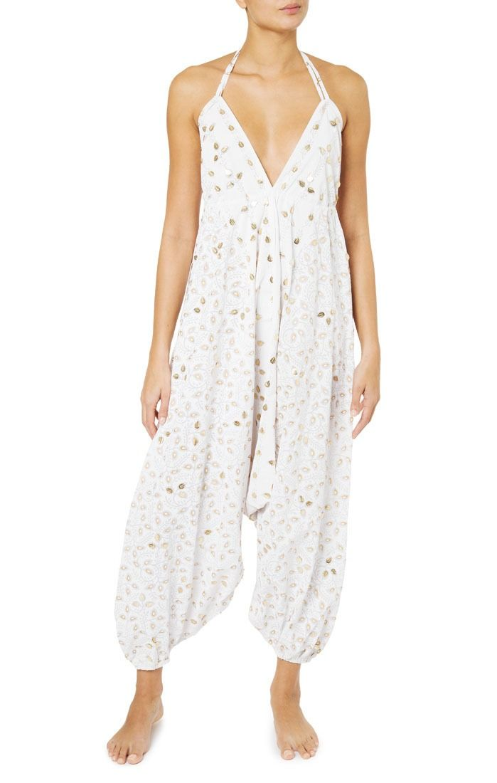 c601cf8200e636 White and Gold Cotton Jumpsuit by Juliet Dunn   Resort 19 in 2019 ...