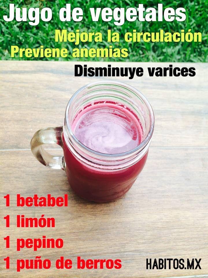 Jugo de vegetales. Mejora la circulación, previene anemias, disminuye várices. De Habitos.mx