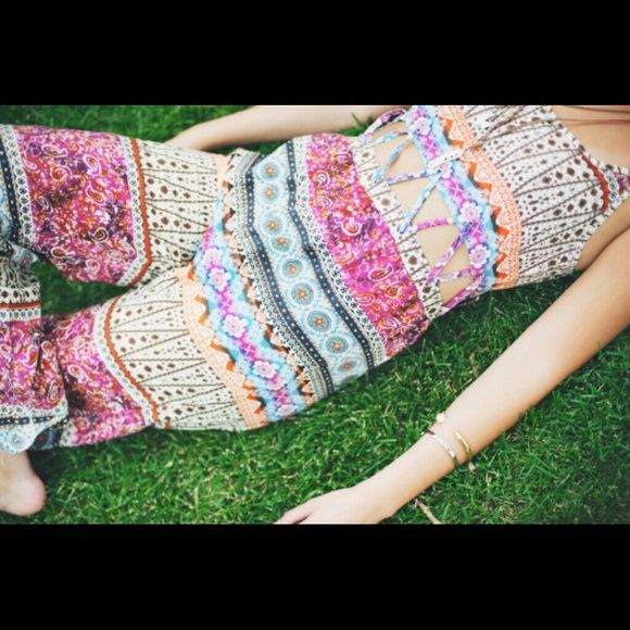 Boho gypsy cut out festival jumpsuit romper TRIBAL Crazy 1 day clearance price!    Bohemian bliss is a one piece. Pull it on for instant fabulous. Can fit up or down a size. Urban Outfitters Pants Jumpsuits & Rompers