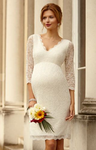 Chloe Lace Maternity Wedding Dress (Ivory) by Tiffany Rose bij Pani Moda bruidsboutique te koop