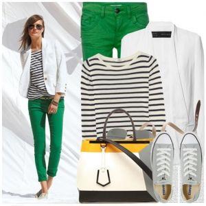 С чем носить серые кеды: зеленые джинсы, полосатая кофта, белый пиджак