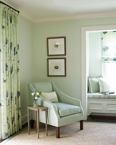 A watery color scheme keeps the mood serene in this master bedroom - Traditional Home® / Photo: Tria Giovan / Design: Ken Gemes