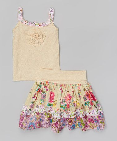 Another great find on #zulily! Peach Blossom Vintage Floral Skirt & Tank - Girls by Free Planet #zulilyfinds