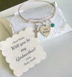 Godmother Bracelet, Godmother Gift, Will You Be My Godmother, Personalized Card, Thank You For Godmother, Silver Plated Adustable Bangle