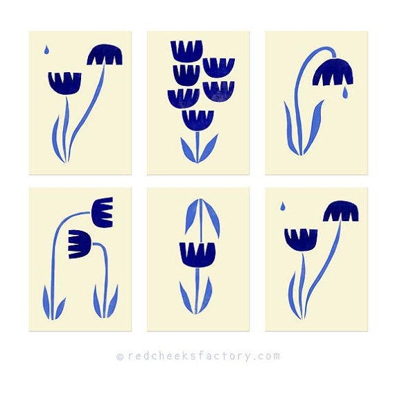 Set of 6 typical Dutch tulips postcards Dutch by RedCheeksFactory