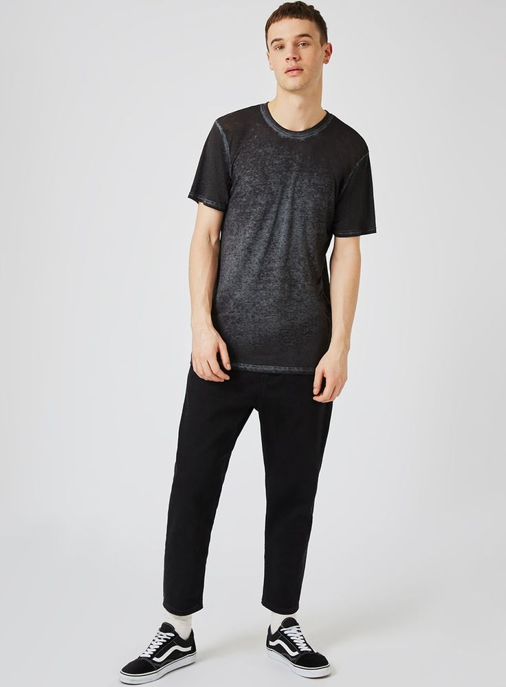 Navy and Black Burnout Longline T-Shirt - Men's T-Shirts & Vests - Clothing - TOPMAN EUROPE
