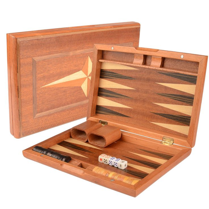 Wooden Inlaid Backgammon Game Set 11""