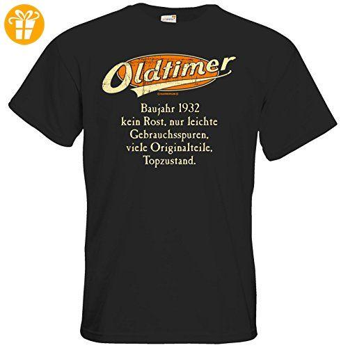 getshirts - RAHMENLOS® Geschenke - T-Shirt - Geburtstag Oldtimer Baujahr Jahrgang 1932 orange - black M (*Partner-Link)