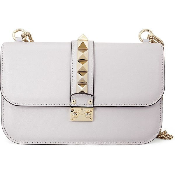 Valentino Rockstud Lock Medium Leather Shoulder Bag - White (£1,035) ❤ liked on Polyvore featuring bags, handbags, shoulder bags, leather handbags, genuine leather handbags, leather shoulder handbags, white shoulder bag and valentino purses