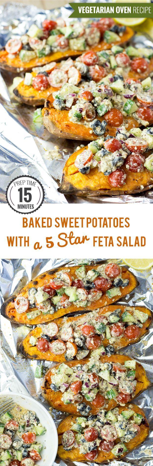 Baked Sweet Potatoes with a Five Star Feta Salad #sweetpotatoes #baked #feta | hurrythefoodup.com