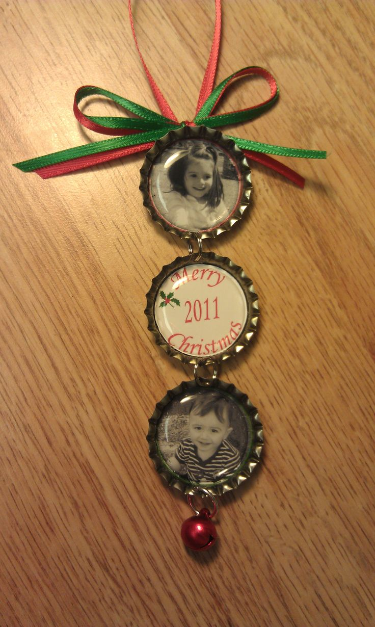 Personalized ornaments for kids - Personalized Bottle Cap Ornaments With Pictures Of Your Kids Pets Or Couples
