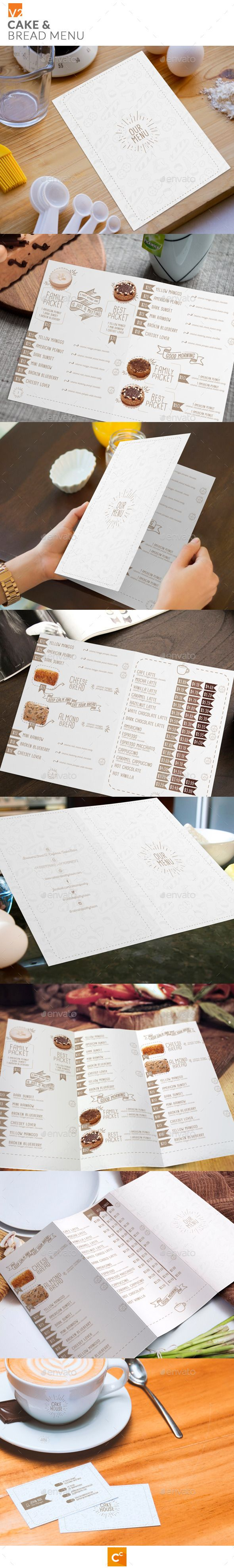 Cake & Bread Menu Template #design Download: http://graphicriver.net/item/cake-bread-menu-v2/11370393?ref=ksioks