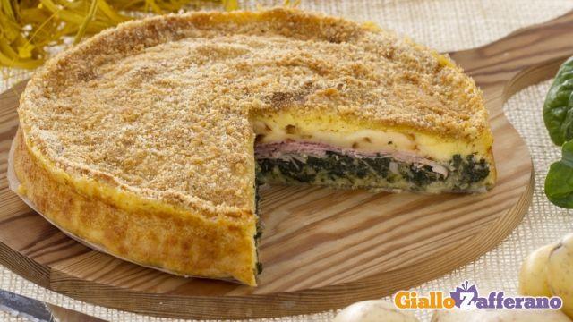 Torta di patate e prosciutto - Italian Potato Pie w/ Spinach & Ham