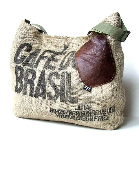 """""""Black as the devil, hot as hell, pure as an angel, sweet as love."""" coffee sack recycling"""