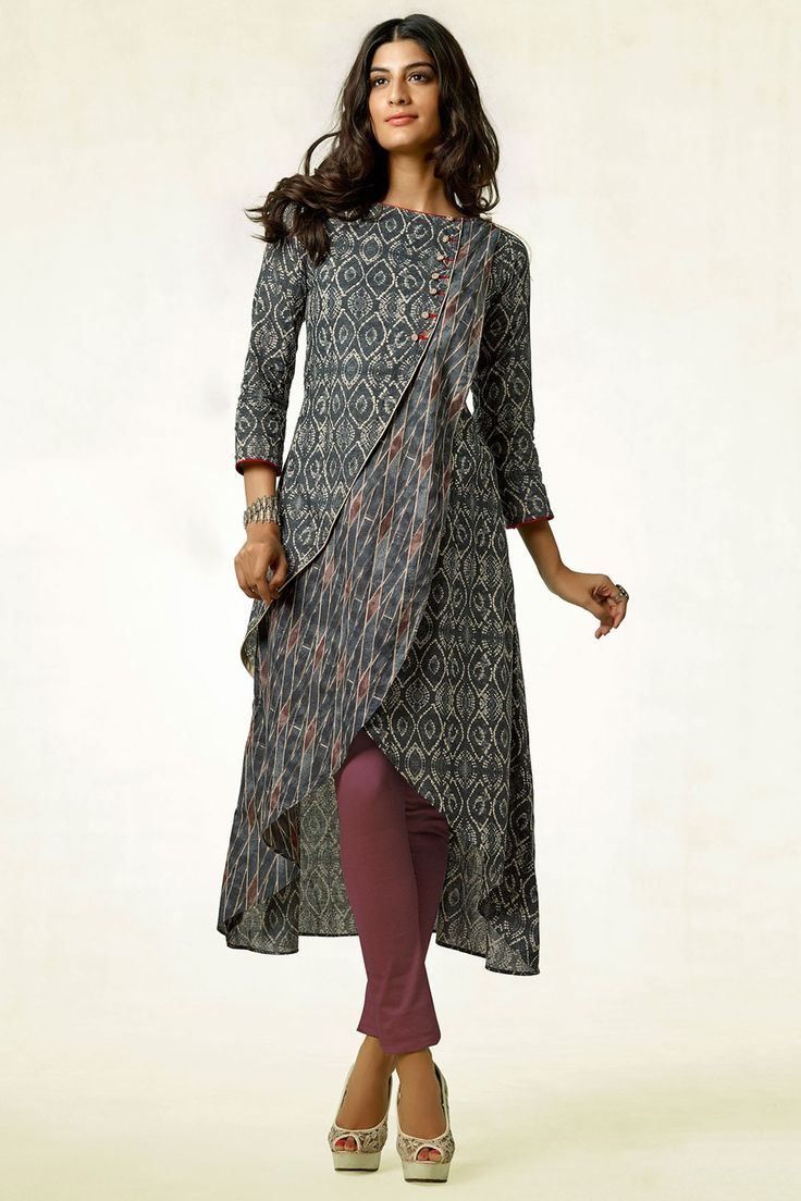 Buy Tail Cut Kurti-Green & Brown-Printed Online