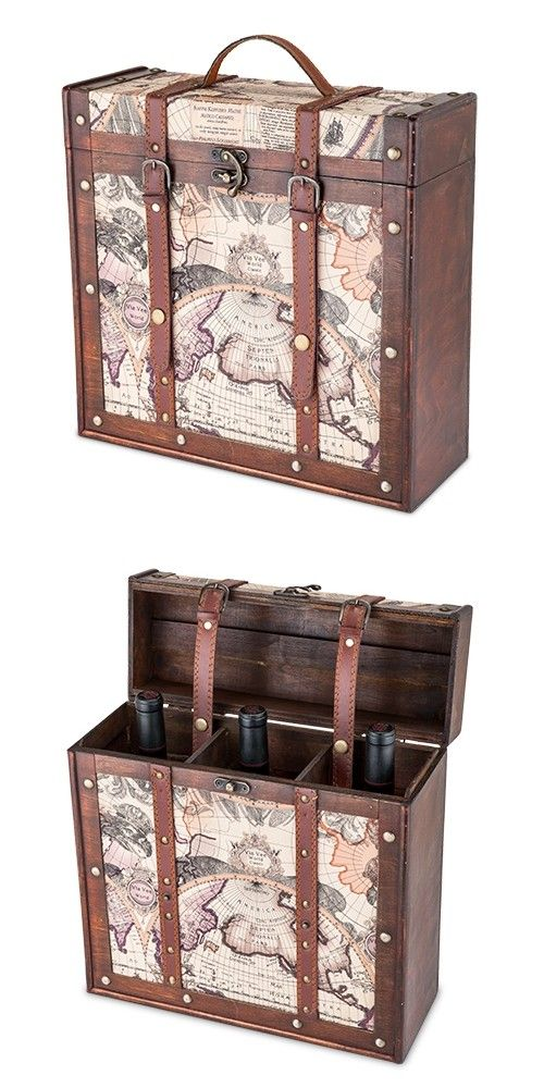 View and Purchase Chateau Collection 3 Bottle Old World Map Wooden Wine Box by Twine from Party Favor Source