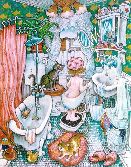 Bathroom Girl by Bill Bell { cats }