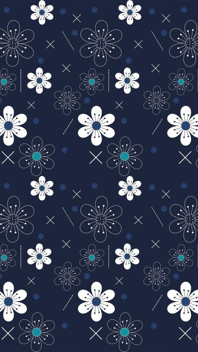 Girly blue and white flowers wallpaper