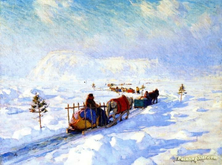 The Ice Bridge, Quebec Artwork by Clarence Gagnon Hand-painted and Art Prints on canvas for sale,you can custom the size and frame