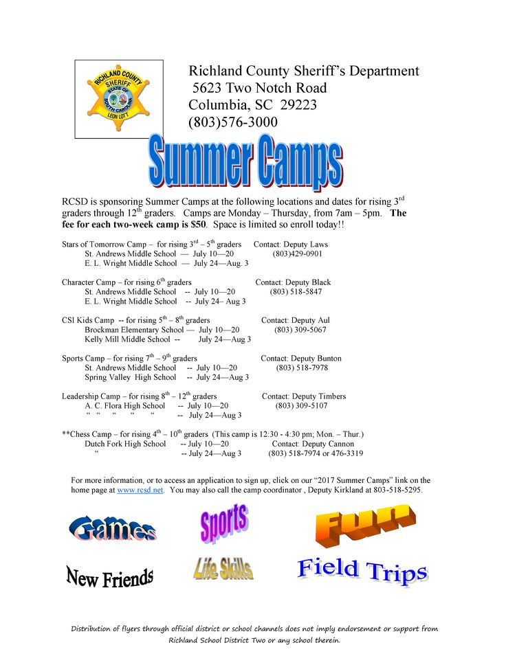 Richland County Sheriff's Department summer camps