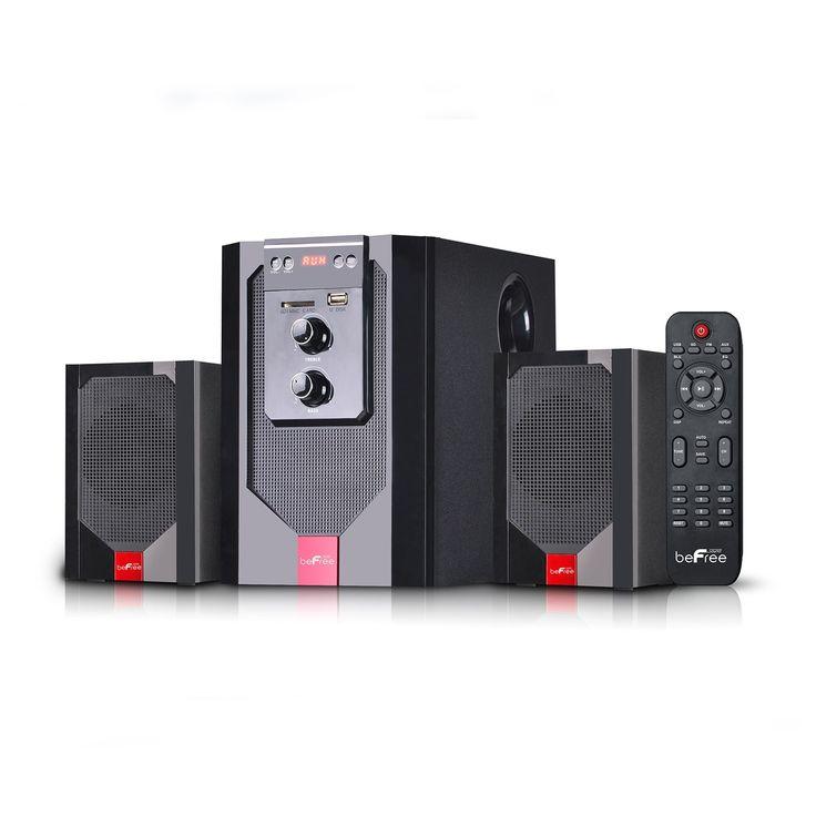 beFree Sound 2.1 Channel Surround Sound Bluetooth Speaker System in Red #BFS-40-RB