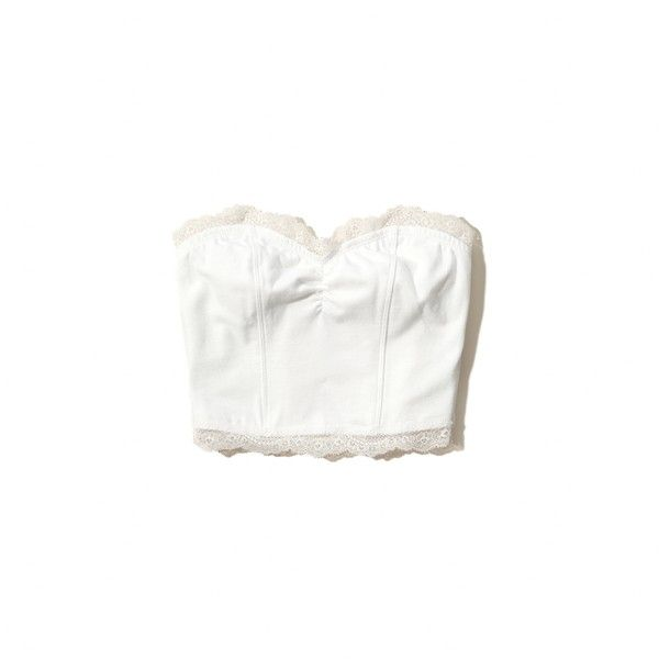 Hollister Doheney Lace Trim Bandeau Top ($9.97) ❤ liked on Polyvore featuring tops, white, white fitted top, bandeau bikini tops, lace trim top, fitted crop top and white bandeau top
