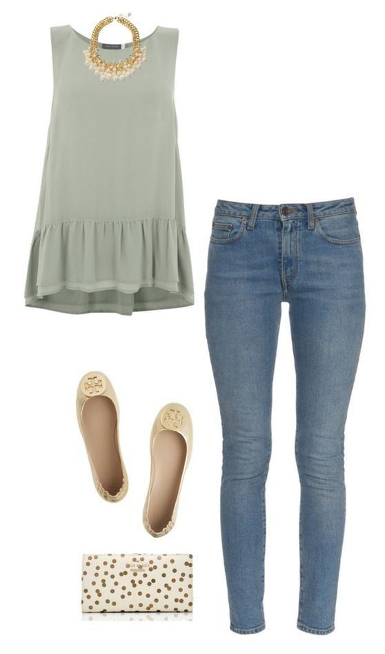 Cute ways to wear pastel school outfits this spring - myschooloutfits.com #jeans #peplum #fashion