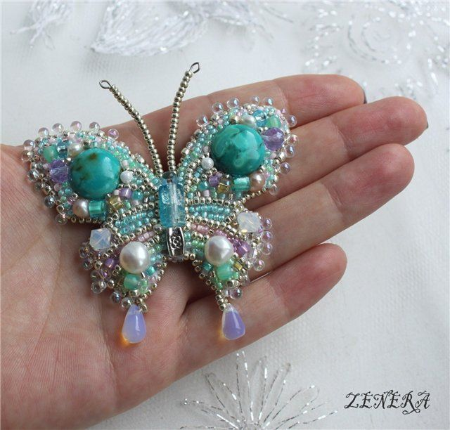 Beautiful :-) Beaded Butterfly - Rain - Embroidery #jewelry #beadwork #beading