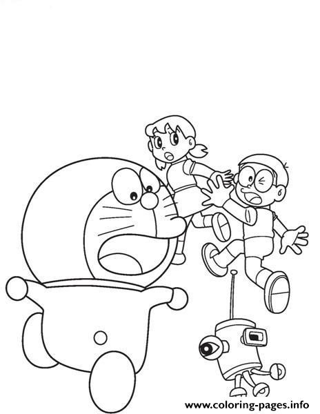 Print Doraemon Chased By Robot Ab7a Coloring Pages