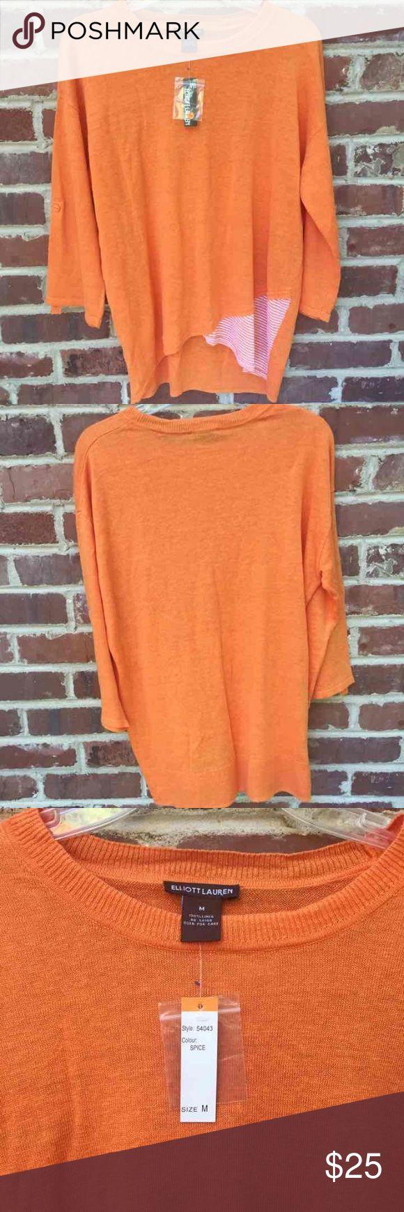 Elliott Lauren Orange Sweater --perfect orange color for college football teams --university of Tennessee vols orange UT or Clemson orange  Brand new with tags. Medium Elliott Lauren Sweaters Crew & Scoop Necks