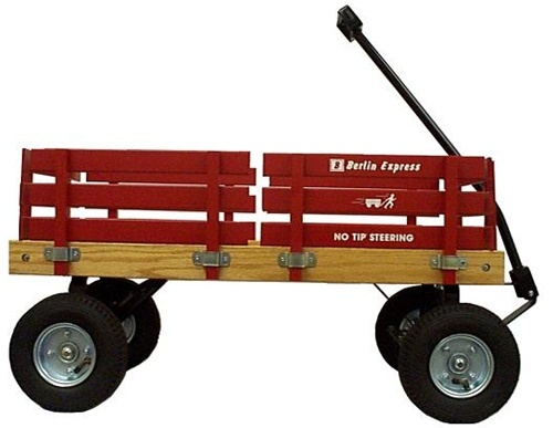 The Berlin Flyer Express Wagon, Model # F400, is Made in America in Amish Country in Berlin, Ohio, U.S.A., has inflatable pneumatic tires, and is ideal for hauling heavy loads over rough surfaces.
