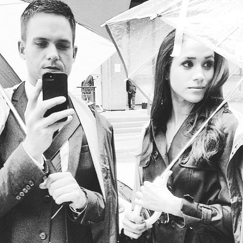 Patrick J Adams (Mike) and Meghan Markle (Rachel) on the set of Suits.