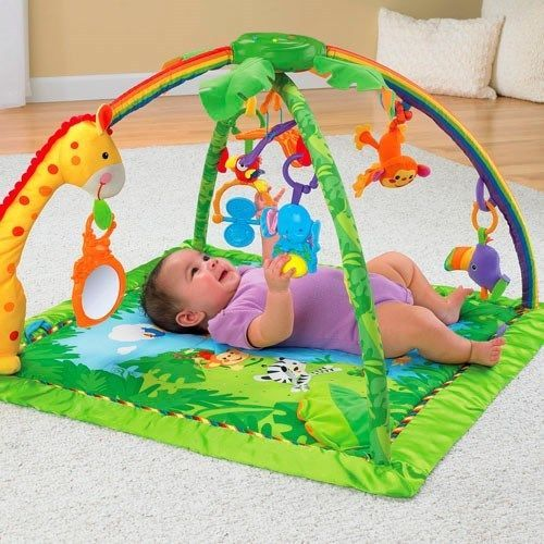 Fisher-Price Rainforest Melodies &Lights Deluxe Gym Infants Activity Play Mat #FisherPrice