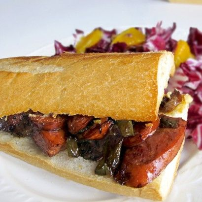 Spicy Italian Sausage and Peppers Sandwich: Sausage And Peppers, Peppers Sandwiches, Food Italian Sandwiches, Spicy Italian Sausages, Recipes Sandwiches, 1Italian Food, Recipes Community, Happy Recipes, Sausages And Peppers