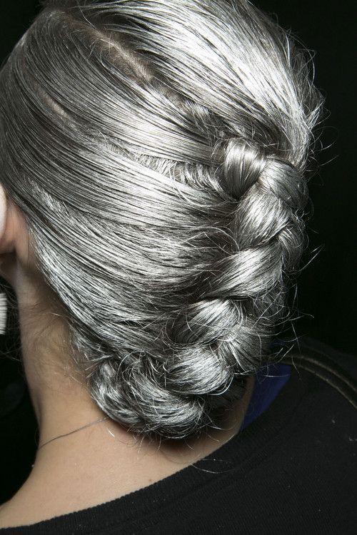 silver braided hair, so pretty!