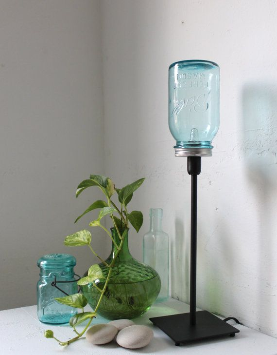 True blue mason jar lamp upcycled antique mason jar for Glass jar floor lamp