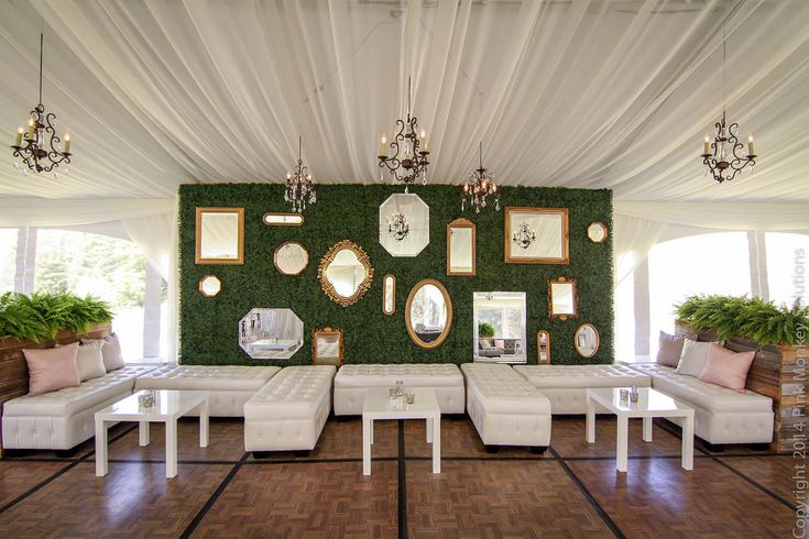 Custom Boxwood Hedge Wall Gold Mirrors Chandeliers And