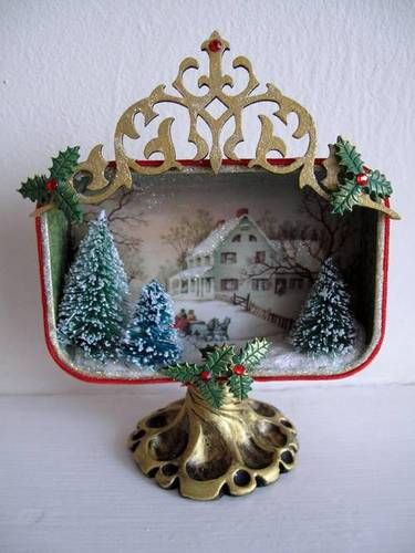 christmas - christmas tin - christmas decoration - Art Journal - Altered Treasures - Assemblage Finds - Made by L. Mahaffey