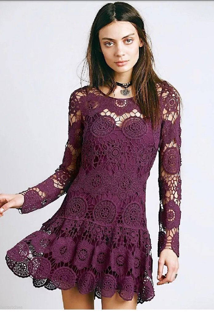 Free People Night Out Crochet Mini Dress. 100% Cotton; rayon slip. | eBay!