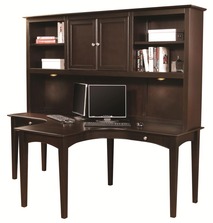 Midtown Two Person Dual T Curved Desk With Storage Hutch Combination By Aspenhome