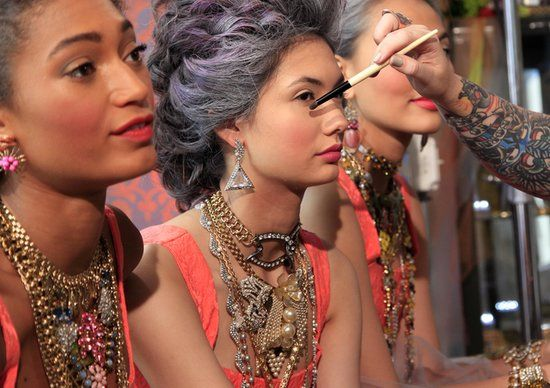 Lulu Frost NYFW 2014 ---> stacked jewels & pearls w/ a Marie Antoinette vibe